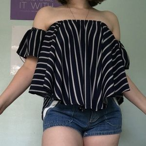 Tops - Off the shoulder baby blue striped top